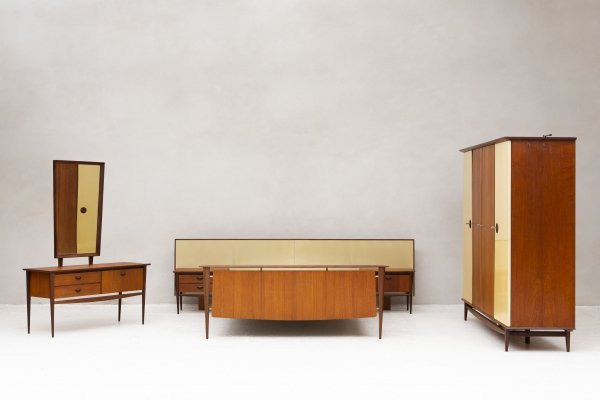 Five piece bedroom set designed by Louis Van Teeffelen for Wébé, 1950s