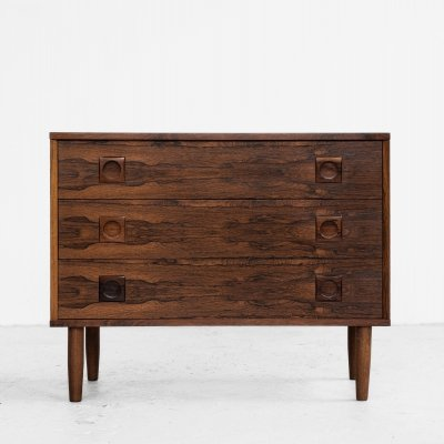 Midcentury Danish chest of 3 drawers in rosewood with round drawer handles
