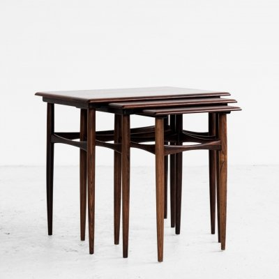 Danish Midcentury nest of 3 side tables in rosewood by Poul Hundevad, 1960s