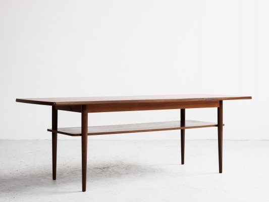 Long Midcentury Danish coffee table in teak with 2 levels, 1960s