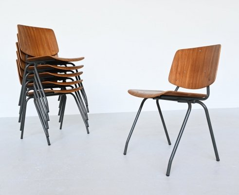 Kho Liang Ie model 305 stacking chairs by Car Katwijk, The Netherlands 1957