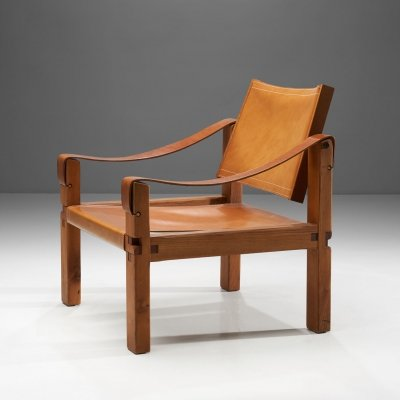 Pierre Chapo 'S10' Cognac Leather Easy Chair, France 1960s
