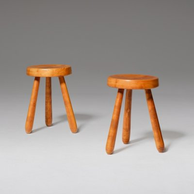 Pair of French Midcentury Modern stools in solid Elm