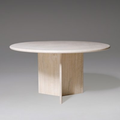 Round Travertine Dining Table, 1970's