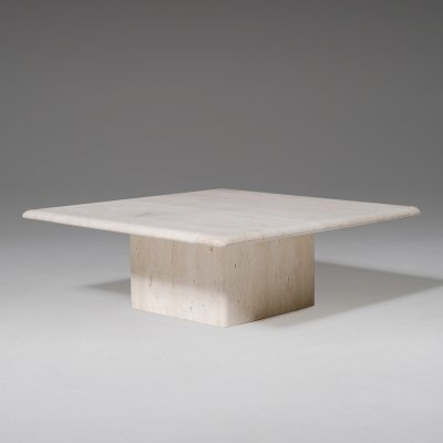 Square travertine coffee table with block base, 1970s