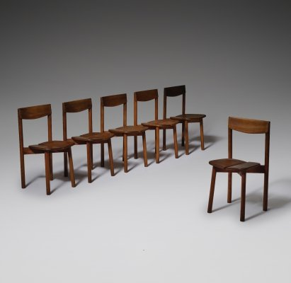 Set of 6 Dining Chairs by Pierre Gautier Delaye, France 1960's