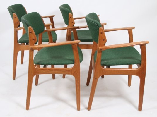 Set of 4 Erik Buch for O.D. Mobler model 49 Dining chairs, 1960s