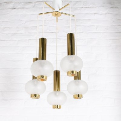 Frosted glass & brass ceiling lamp, 1960/1970's