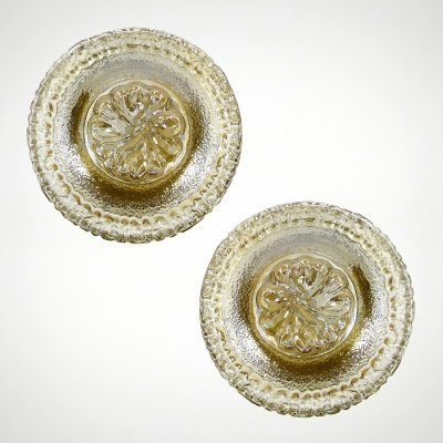 Set of 2 french brass & crackle glass wall lights, 1950s