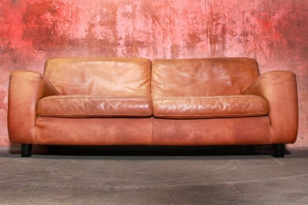 Fatboy Extra Thick Bull Leather / Neck-Leather 2,5 Seat Sofa From Molinari, 1980s
