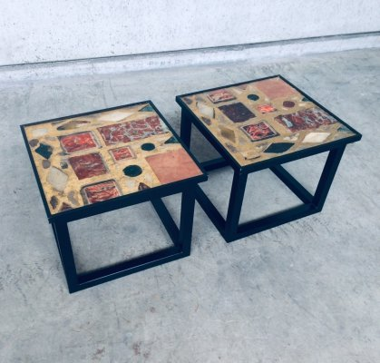 Pair of Midcentury Modern Design Black Frame with Gold inlay Side Tables, 1970s
