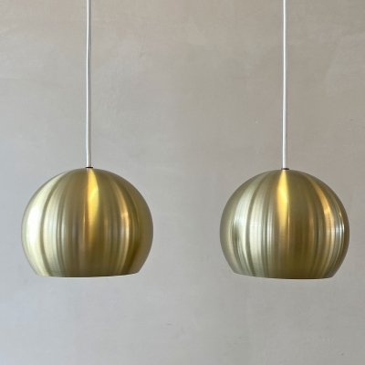 Set of 2 Danish brass hanging lamps, 1970s