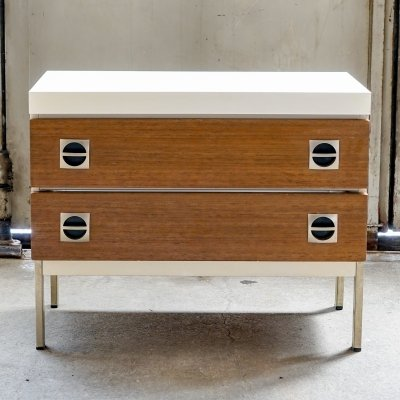 Retro chest of drawer with white side & cover surface