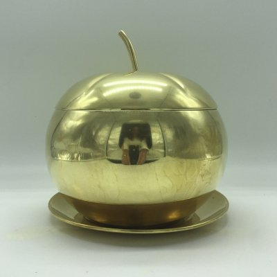 Italian Brass Apple Container or Box, 1970s