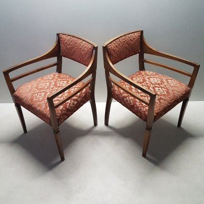 Pair of Danish oak armchairs with sculpted velvet upholstery, 1920s