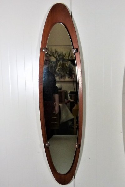 Large Teak Mirror by Mobili Polli Italy, 1950's