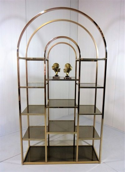 Large brass & smoked glass display in Hollywood Regency style