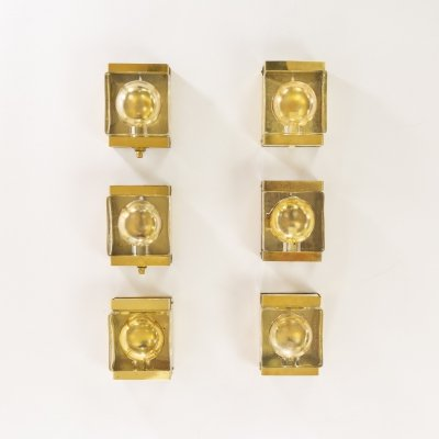 Set of 6 gold coloured Maritim wall lamps by Vitrika