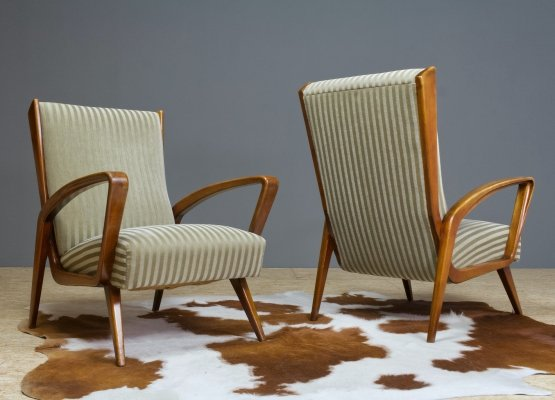 Set of two Art Deco lounge chairs in walnut & velvet by A. Patijn, 1950s