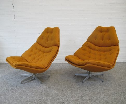 Pair of early F588 F587 lounge chairs by Geoffrey Harcourt for Artifort, 1960s