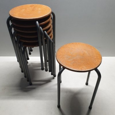 Vintage industrial stackable stools, 1960s