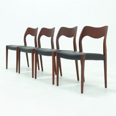 Set of 4 Model 71 dining chairs by Niels Otto Møller for JL Møllers Møbelfabrik, 1960s