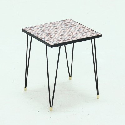 Mid Century Multi colored Mosaic Side Table with Hairpin Legs, 1950s