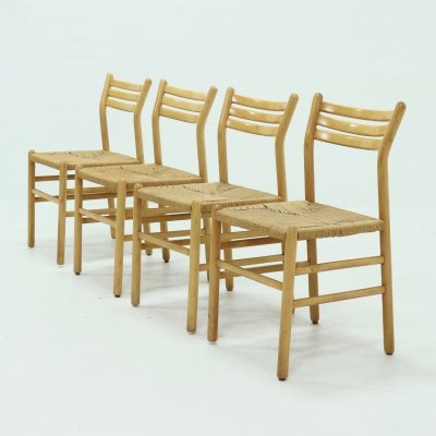 Set of 4 Italian Rope & Beech Dining Chairs, 1960s