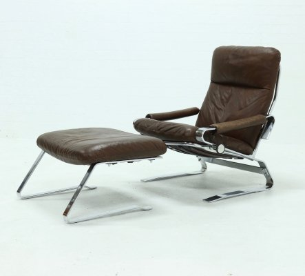 Mid Century Chrome & Leather Recliner Chair & Ottoman, 1960s