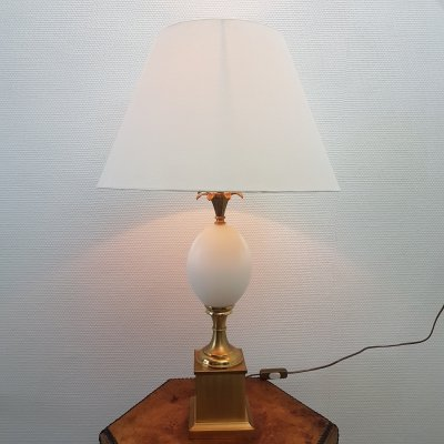 Brass & opaline glass Ostrich egg table lamp, 1970s