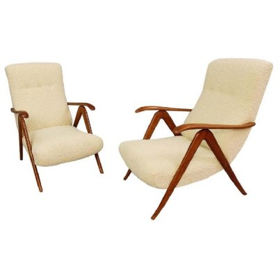 Pair of Italian Armchairs With Adjustable Backrests