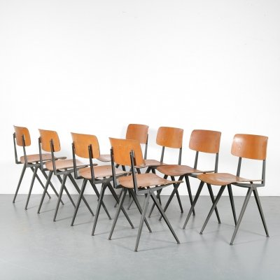 1950s set of 8 industrial school chairs by Marko, Netherlands
