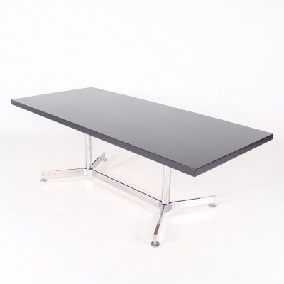 Chromed steel & lacquered wood writing table with removable footrest, 1970's