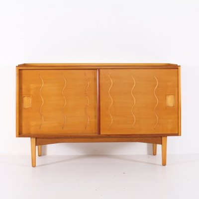Elm, walnut & maple wood sideboard with sliding doors, 1950's