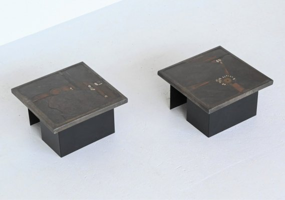 Set of 2 Paul Kingma coffee tables, Netherlands 1984