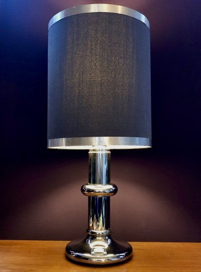 Large funky table lamp by Hoffmeister Leuchten with grey fabric shade, 1970's