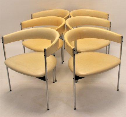 Set of 6 Three-Legged Chairs by Dieter Waeckerlin for Idealheim, 1960s