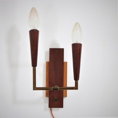 Teak & brass vintage wall lamp, 1960s