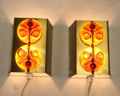 Pair of Scandinavian Metal wall lamps with orange red glass, 1960s