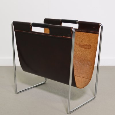 Leather magazine holder by Brabantia, 1960's