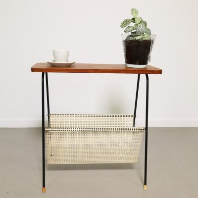 Side table with teak top & perforated magazine holder, ca 1960