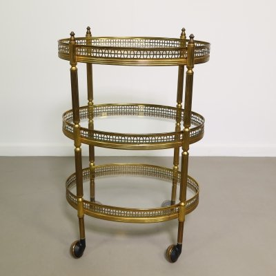 Small brass tea trolley/serving cart, 1950s