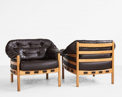 Midcentury pair of easy chairs in teak & leather, 1960s