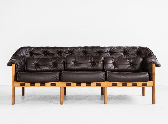 Midcentury sofa in teak & leather, 1960s