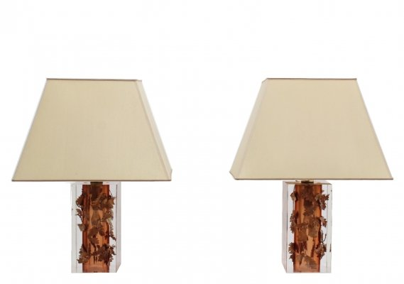 Pair of Vintage lucite & copper table lamps by Feliceantonio Botta, Firenze 1970s