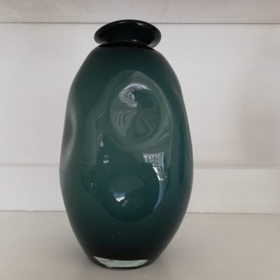Green Blown Glass Vase Signed BT, Made in Venice 1980's
