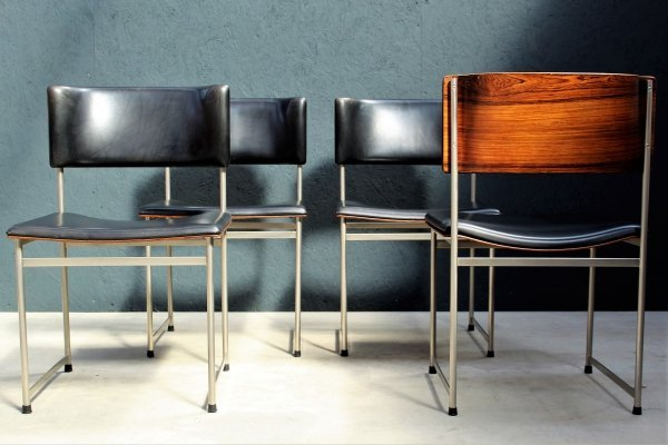 Set of 4 SM80 dining chairs by Cees Braakman for Pastoe, 1950s