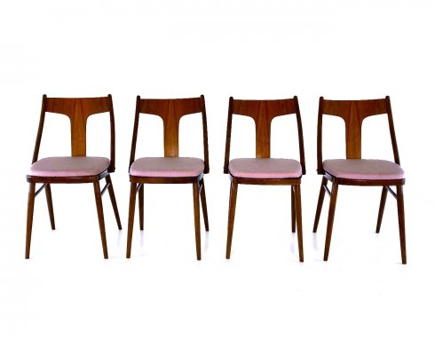 Set of 4 Czech dining room chairs, 1960s
