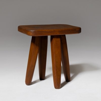 French Hand crafted wooden stool, 1960's