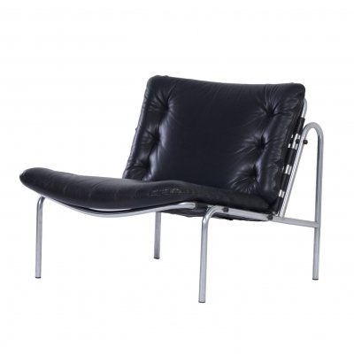 Black Leather Osaka Easy Chair by Martin Visser for 't Spectrum, 1960s